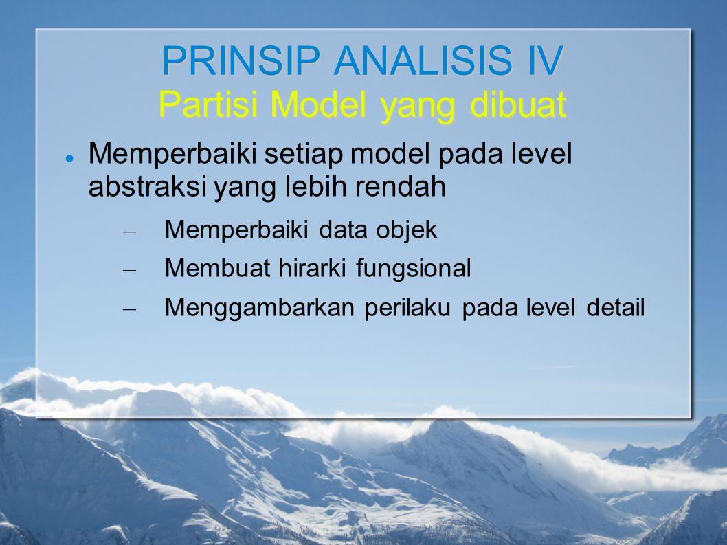 PRINSIP ANALISIS IV Partisi Model yang dibuat Memperbaiki setiap model pada level abstraksi yang lebih rendah – Memperbaiki data objek – Membuat hirar