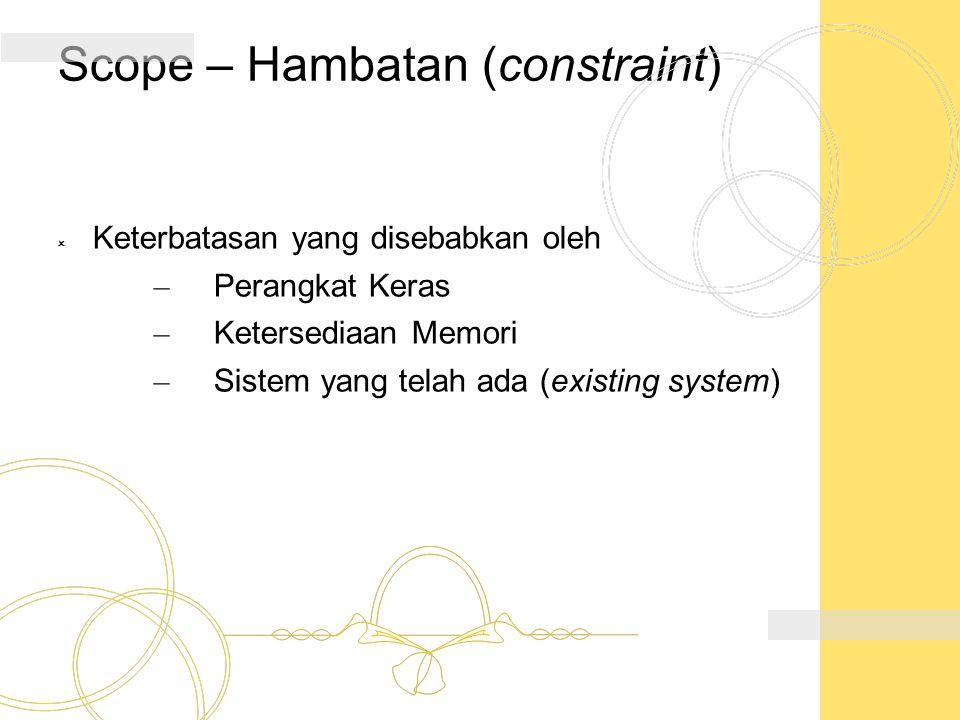 Scope – Hambatan (constraint)  Keterbatasan yang disebabkan oleh – Perangkat Keras – Ketersediaan Memori – Sistem yang telah ada (existing system)