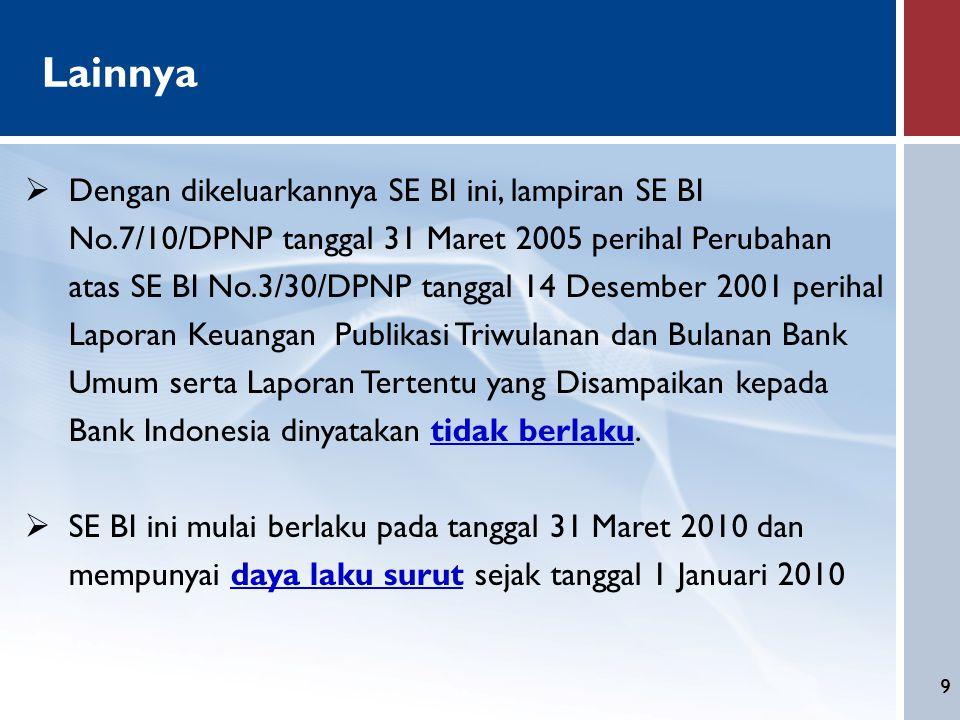 9 Lainnya  Dengan dikeluarkannya SE BI ini, lampiran SE BI No.7/10/DPNP tanggal 31 Maret 2005 perihal Perubahan atas SE BI No.3/30/DPNP tanggal 14 De