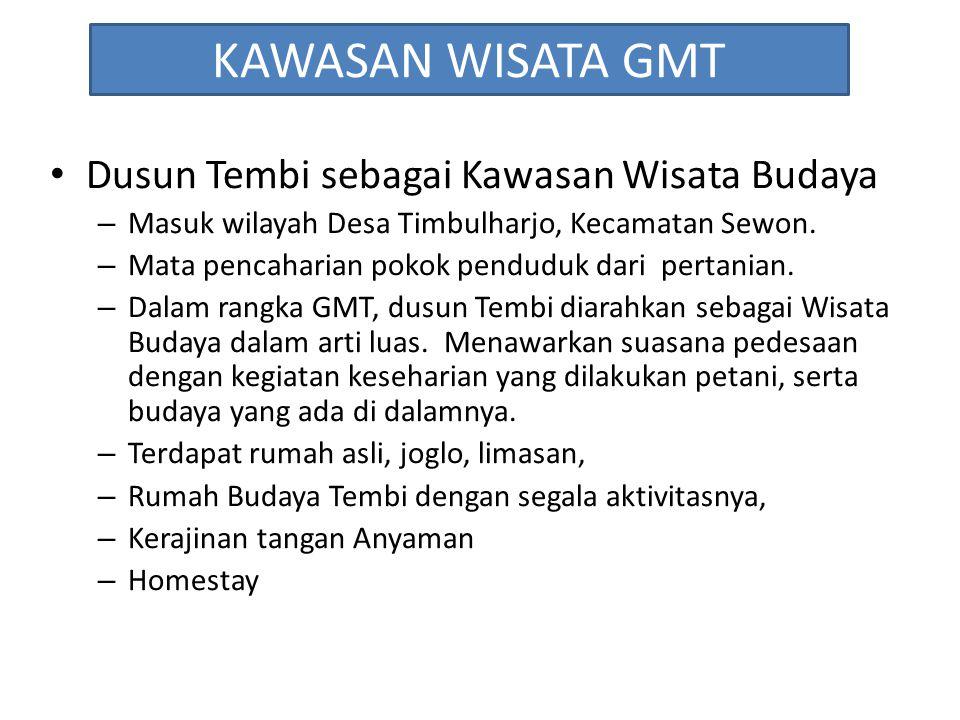 KAWASAN WISATA GMT Dusun Tembi sebagai Kawasan Wisata Budaya – Masuk wilayah Desa Timbulharjo, Kecamatan Sewon. – Mata pencaharian pokok penduduk dari