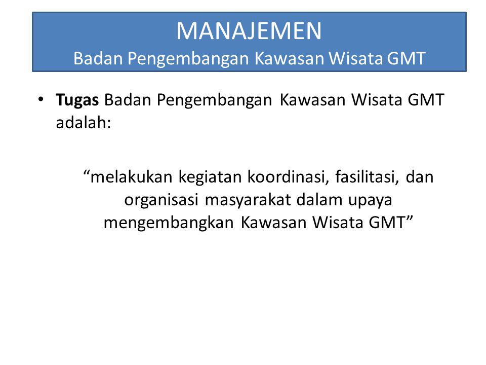 """MANAJEMEN Badan Pengembangan Kawasan Wisata GMT Tugas Badan Pengembangan Kawasan Wisata GMT adalah: """"melakukan kegiatan koordinasi, fasilitasi, dan or"""