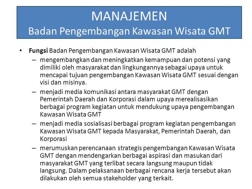 MANAJEMEN Badan Pengembangan Kawasan Wisata GMT Fungsi Badan Pengembangan Kawasan Wisata GMT adalah – mengembangkan dan meningkatkan kemampuan dan pot