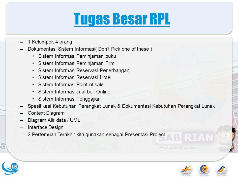 Tugas Besar RPL –1 Kelompok 4 orang –Dokumentasi Sistem Informasi( Don't Pick one of these ) Sistem Informasi Peminjaman buku Sistem Informasi Peminja