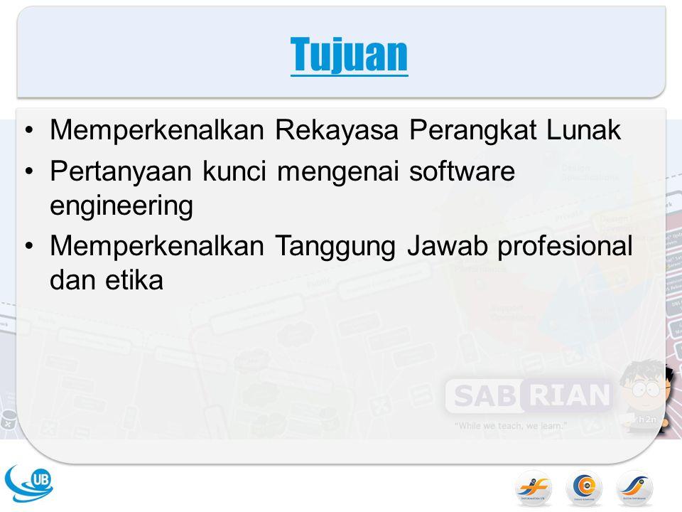 Tujuan Memperkenalkan Rekayasa Perangkat Lunak Pertanyaan kunci mengenai software engineering Memperkenalkan Tanggung Jawab profesional dan etika