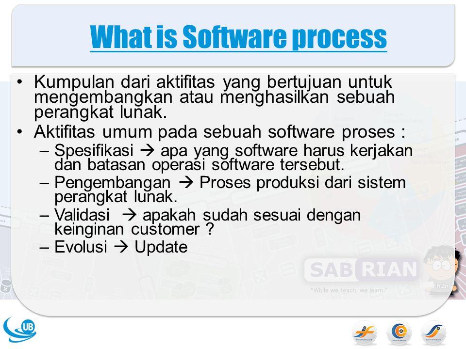 What is Software process Kumpulan dari aktifitas yang bertujuan untuk mengembangkan atau menghasilkan sebuah perangkat lunak. Aktifitas umum pada sebu