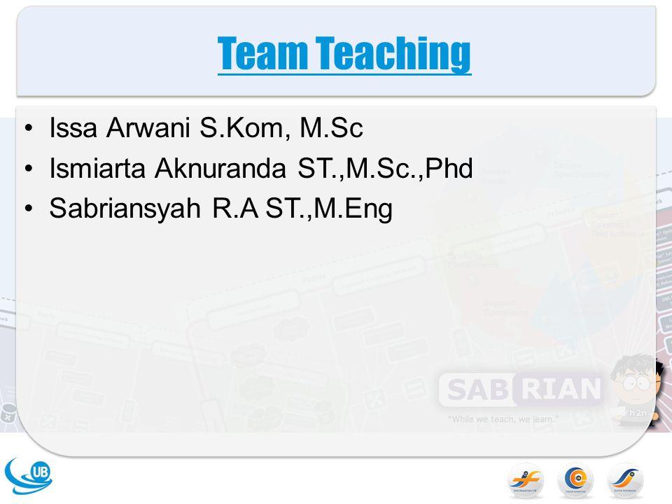 Team Teaching Issa Arwani S.Kom, M.Sc Ismiarta Aknuranda ST.,M.Sc.,Phd Sabriansyah R.A ST.,M.Eng