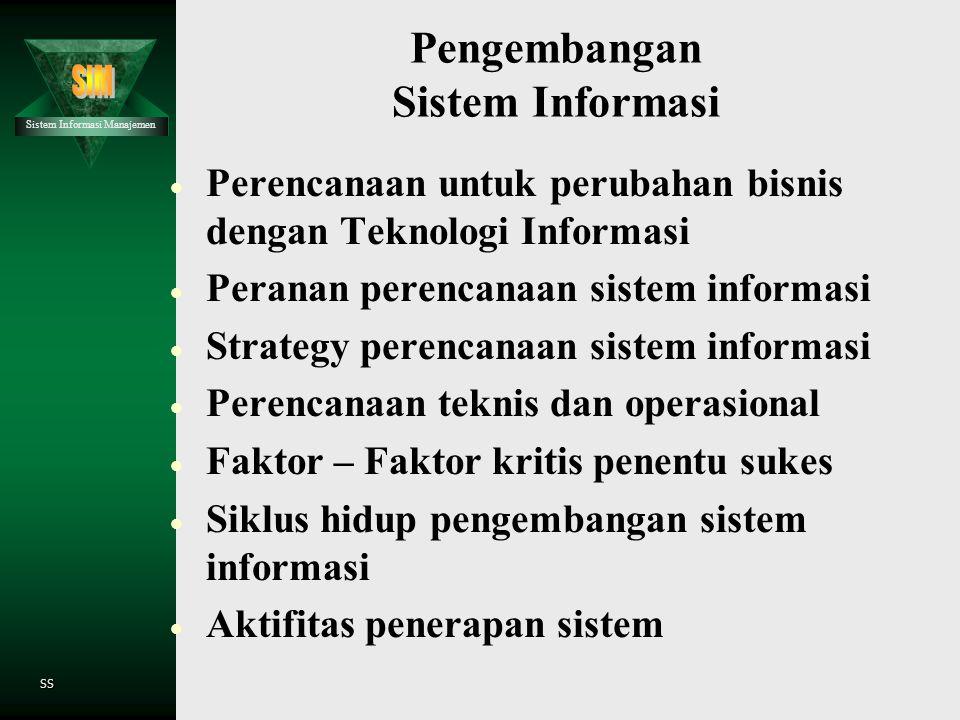 Sistem Informasi Manajemen SS Teknologi Informasi dan Komnikasi : Prespektif Manajemen  Tujuan dipergunakan Teknologi Informasi  Teknologi Informasi