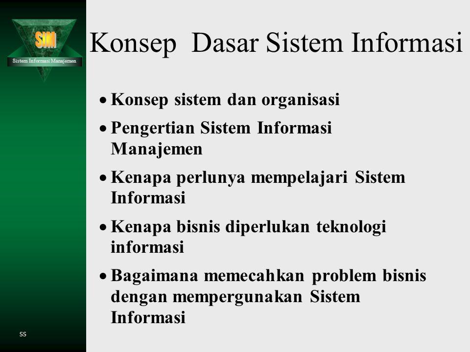 Sistem Informasi Manajemen SS Konsep Dasar Sistem Informasi  Konsep sistem dan organisasi  Pengertian Sistem Informasi Manajemen  Kenapa perlunya mempelajari Sistem Informasi  Kenapa bisnis diperlukan teknologi informasi  Bagaimana memecahkan problem bisnis dengan mempergunakan Sistem Informasi