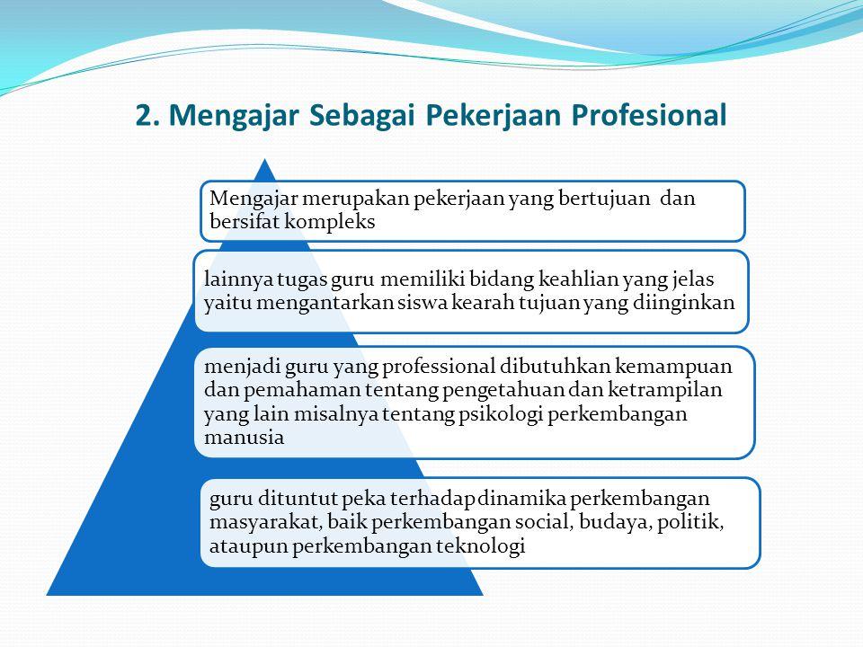 2. Mengajar Sebagai Pekerjaan Profesional Mengajar merupakan pekerjaan yang bertujuan dan bersifat kompleks lainnya tugas guru memiliki bidang keahlia