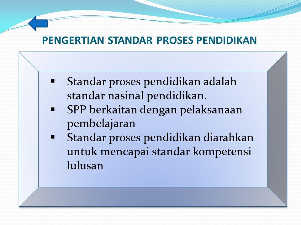 PENGERTIAN STANDAR PROSES PENDIDIKAN  Standar proses pendidikan adalah standar nasinal pendidikan.  SPP berkaitan dengan pelaksanaan pembelajaran 