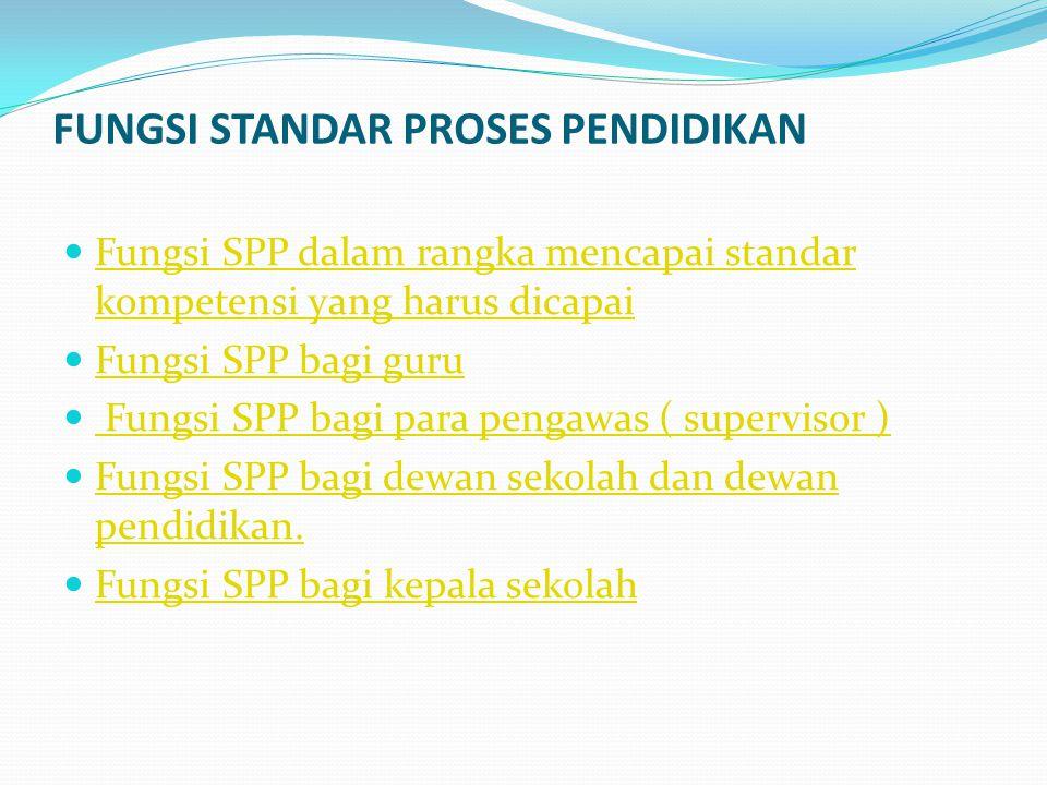 FUNGSI STANDAR PROSES PENDIDIKAN Fungsi SPP dalam rangka mencapai standar kompetensi yang harus dicapai Fungsi SPP dalam rangka mencapai standar kompe