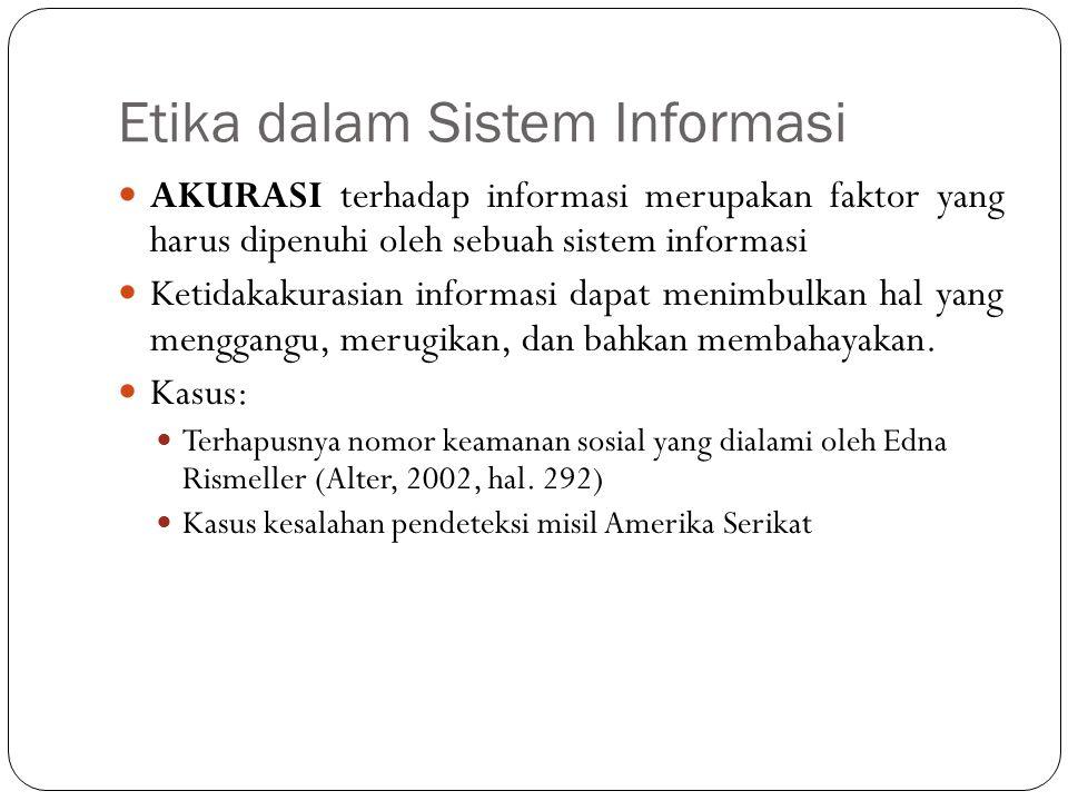 Etika dalam Sistem Informasi 5 Perlindungan terhadap hak PROPERTI yang sedang digalakkan saat ini yaitu yang dikenal dengan sebutan HAKI (hak atas kekayaan intelektual).