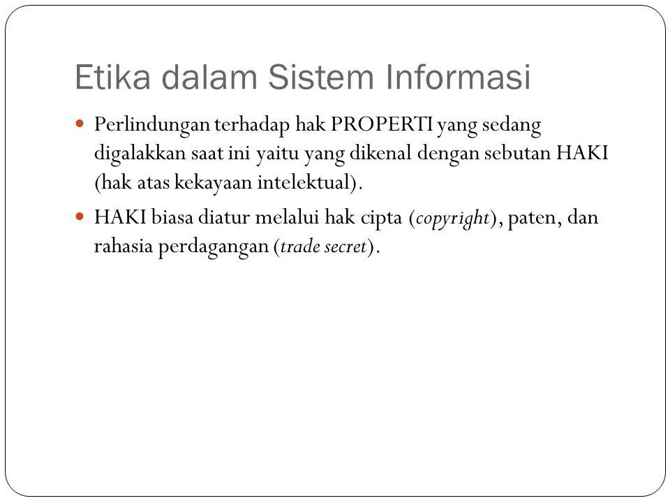 Etika dalam Sistem Informasi 5 Perlindungan terhadap hak PROPERTI yang sedang digalakkan saat ini yaitu yang dikenal dengan sebutan HAKI (hak atas kek