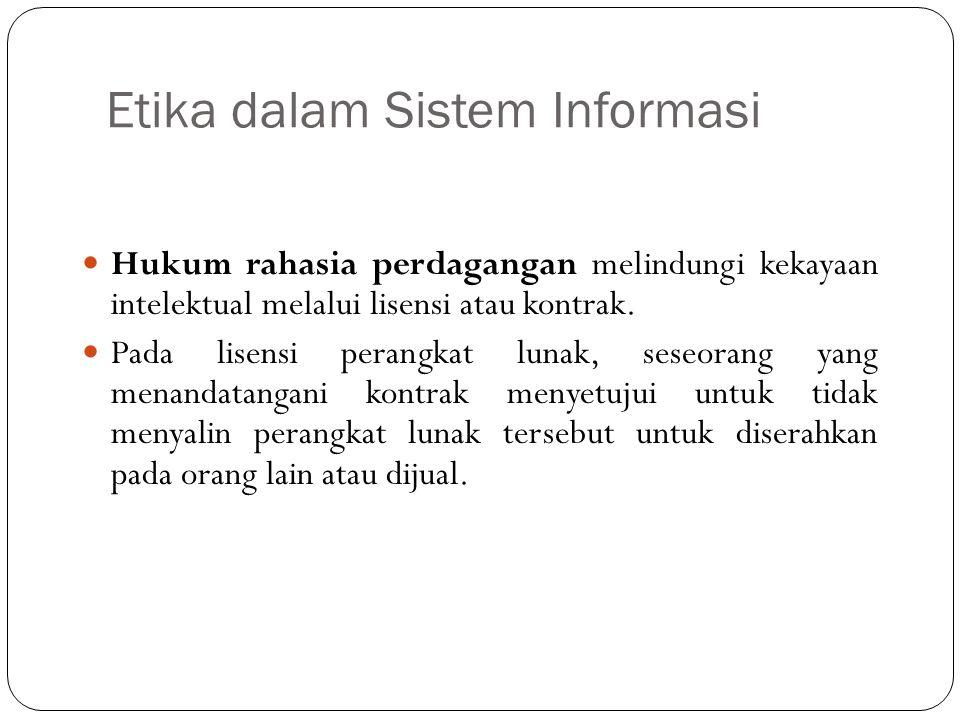 Etika dalam Sistem Informasi 9 Berkaitan dengan dengan kekayaan intelektual, banyak masalah yang belum terpecahkan (Zwass, 1998); Antara lain : Pada level bagaimana informasi dapat dianggap sebagai properti.