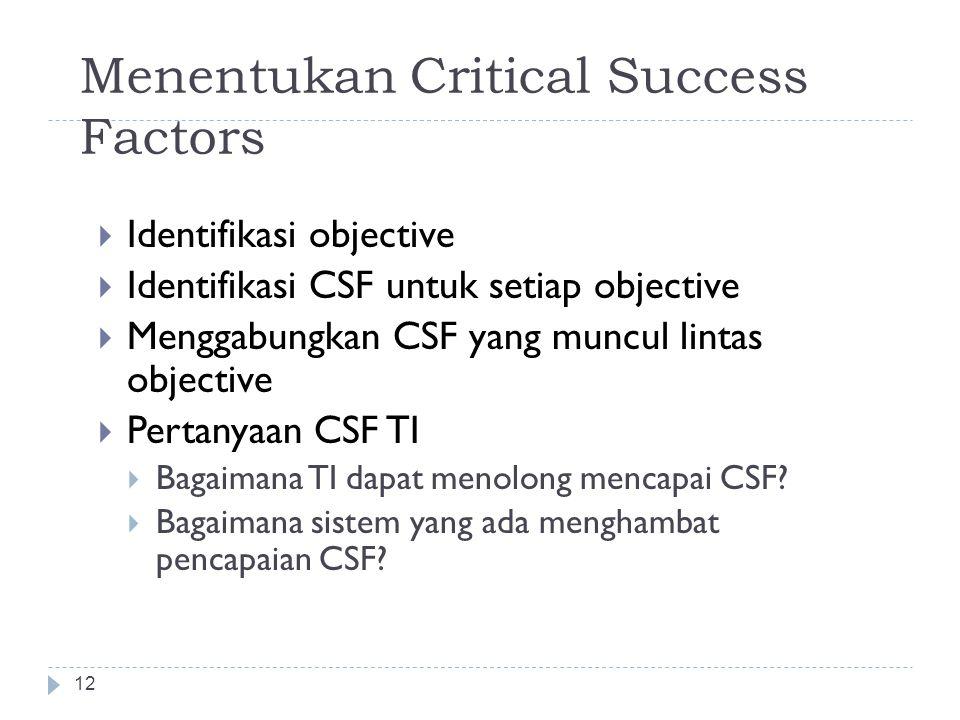 """Critical Success Factor 11  Digunakan untuk menginterpretasikan business objectives dalam bentuk aksi untuk mencapainya  Didefinisikan sebagai """"bida"""