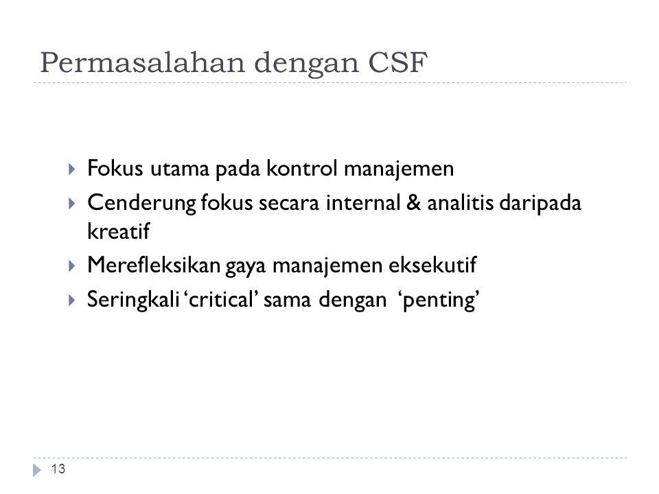 Menentukan Critical Success Factors 12  Identifikasi objective  Identifikasi CSF untuk setiap objective  Menggabungkan CSF yang muncul lintas objec