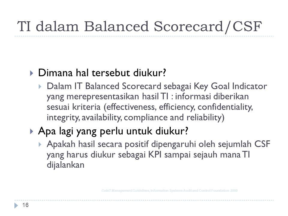 TI dalam Balanced Scorecard/CSF 15  Apa keperluan manajemen?  Jaminan kebutuhan perusahaan dipenuhi  Dimana hal tersebut diukur?  Dalam Balanced B
