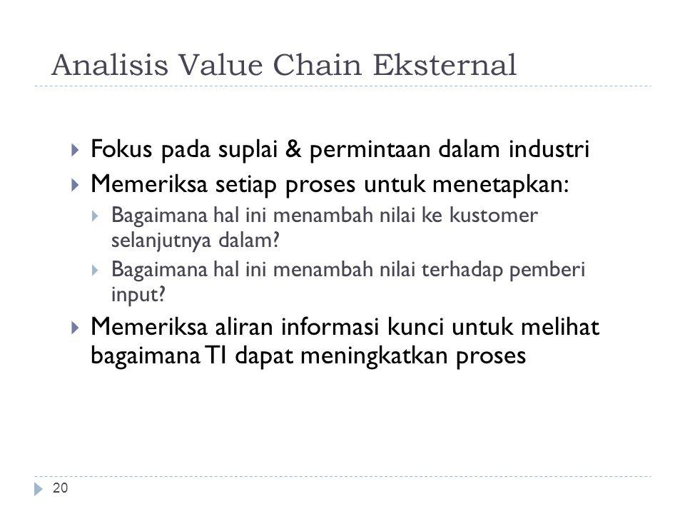 Analisis Value Chain 19  Aktivitas bisnis untuk desain, produksi, pemasaran & dukungan produk atau servis; aktivitas-aktivitas ini dapat direpresenta