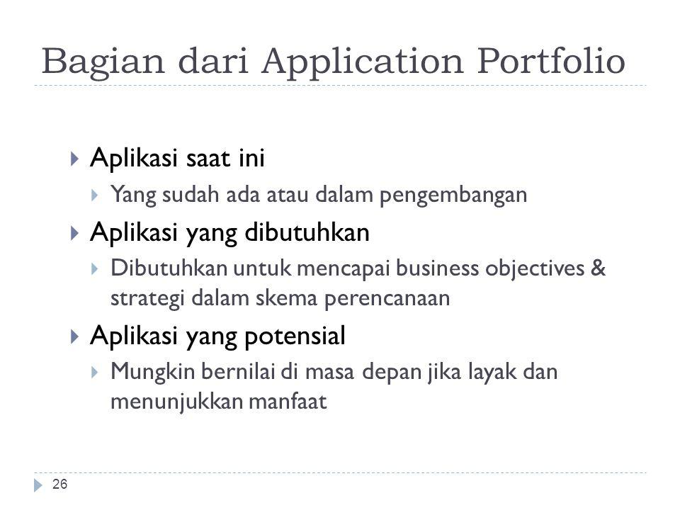 Tujuan Penentuan Strategi TI 25  Identifikasi aplikasi yang dibutuhkan & prioritasnya  Dapat menyediakan sumber daya untuk mencapai keberhasilan ( p