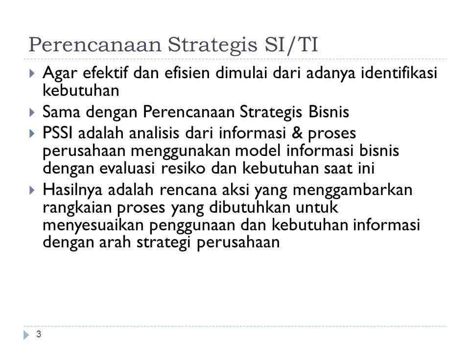 Perencanaan Strategis SI/TI 3  Agar efektif dan efisien dimulai dari adanya identifikasi kebutuhan  Sama dengan Perencanaan Strategis Bisnis  PSSI adalah analisis dari informasi & proses perusahaan menggunakan model informasi bisnis dengan evaluasi resiko dan kebutuhan saat ini  Hasilnya adalah rencana aksi yang menggambarkan rangkaian proses yang dibutuhkan untuk menyesuaikan penggunaan dan kebutuhan informasi dengan arah strategi perusahaan