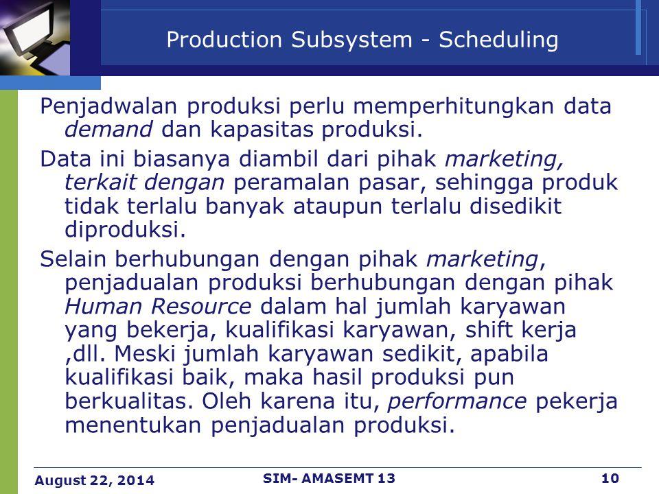 August 22, 2014 SIM- AMASEMT 1310 Production Subsystem - Scheduling Penjadwalan produksi perlu memperhitungkan data demand dan kapasitas produksi. Dat