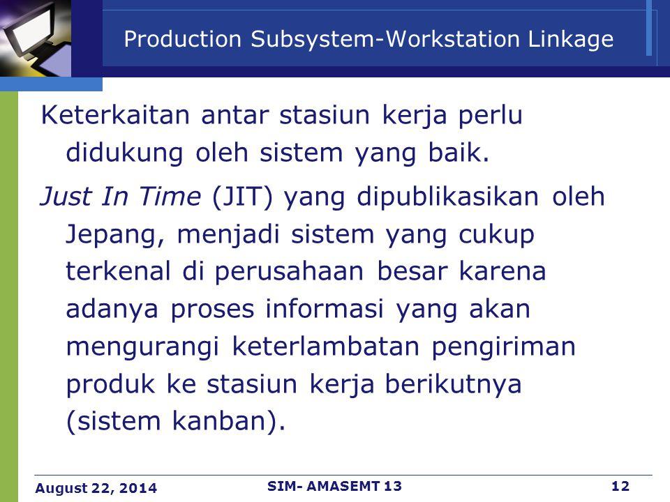 August 22, 2014 SIM- AMASEMT 1312 Production Subsystem-Workstation Linkage Keterkaitan antar stasiun kerja perlu didukung oleh sistem yang baik. Just