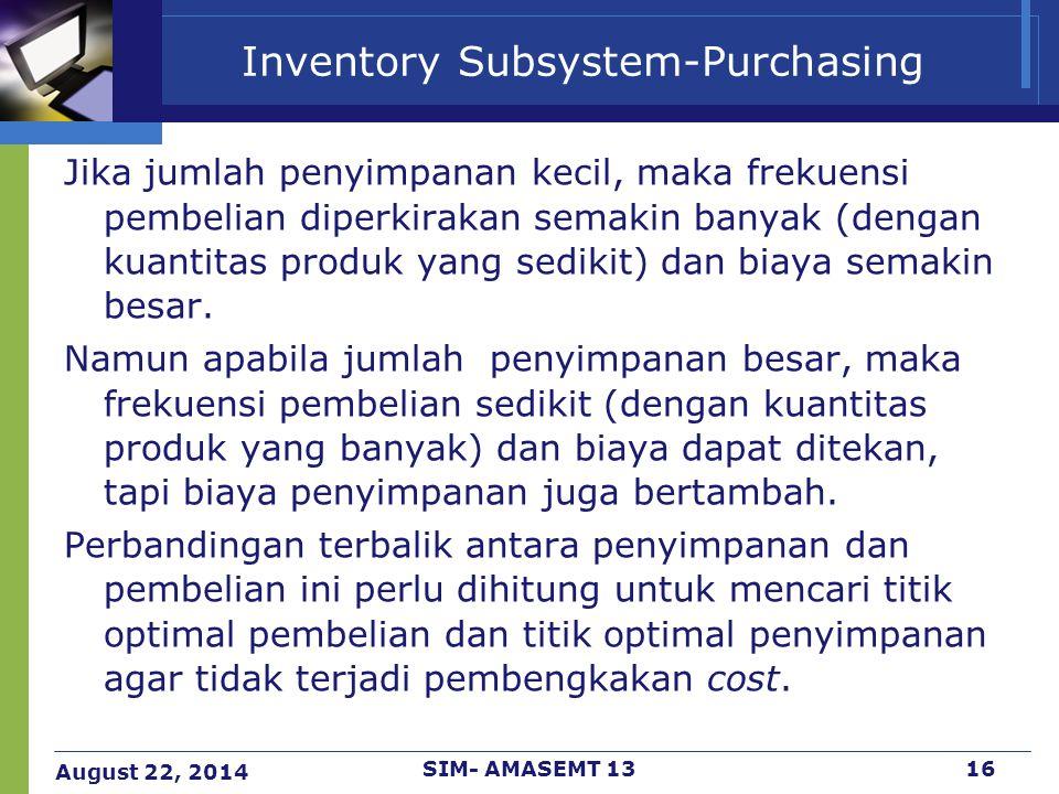 August 22, 2014 SIM- AMASEMT 1316 Inventory Subsystem-Purchasing Jika jumlah penyimpanan kecil, maka frekuensi pembelian diperkirakan semakin banyak (
