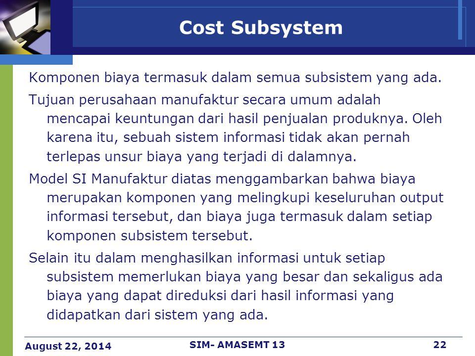 August 22, 2014 SIM- AMASEMT 1322 Cost Subsystem Komponen biaya termasuk dalam semua subsistem yang ada. Tujuan perusahaan manufaktur secara umum adal
