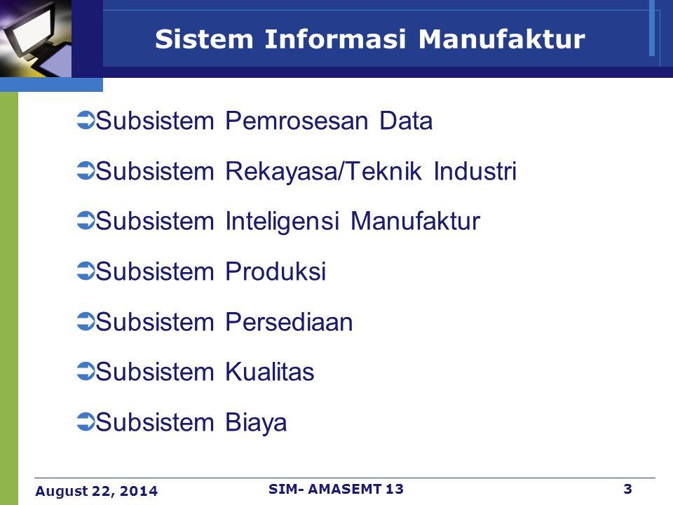 August 22, 2014 SIM- AMASEMT 133 Sistem Informasi Manufaktur  Subsistem Pemrosesan Data  Subsistem Rekayasa/Teknik Industri  Subsistem Inteligensi