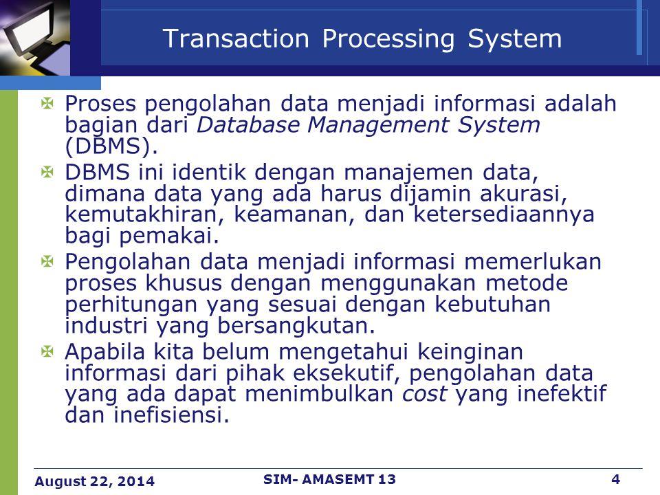 August 22, 2014 SIM- AMASEMT 135 Transaction Processing System Kegiatan di dalam manajemen data dalam SI Manufaktur adalah : 1.Pengumpulan (pendokumentasian) data 2.Pengujian data, agar tidak terjadi inkonsistensi data 3.Pemeliharaan data, untuk menjamin akurasi dan kemutakhiran data.