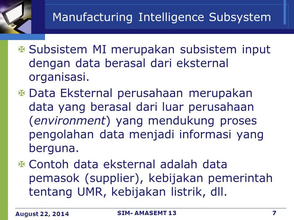 August 22, 2014 SIM- AMASEMT 138 Manufacturing Intelligence Subsystem Data-data MI biasanya berguna untuk perhitungan cost dalam manufaktur mulai dari awal hingga akhir proses.