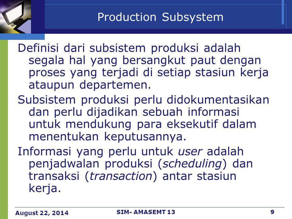 August 22, 2014 SIM- AMASEMT 1310 Production Subsystem - Scheduling Penjadwalan produksi perlu memperhitungkan data demand dan kapasitas produksi.