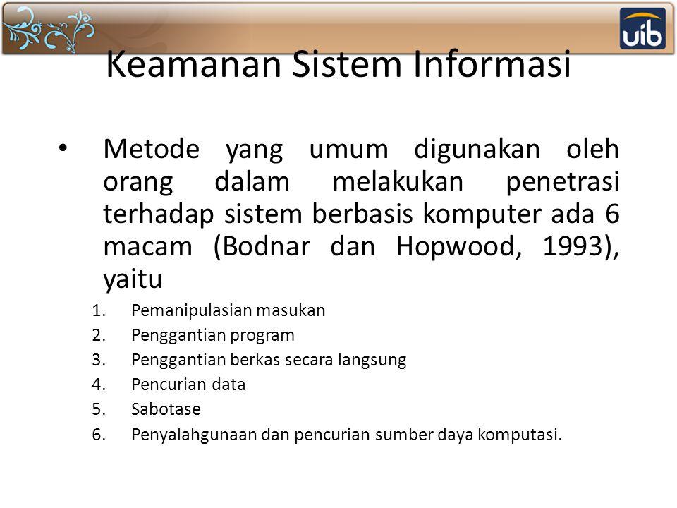 Keamanan Sistem Informasi Metode yang umum digunakan oleh orang dalam melakukan penetrasi terhadap sistem berbasis komputer ada 6 macam (Bodnar dan Ho