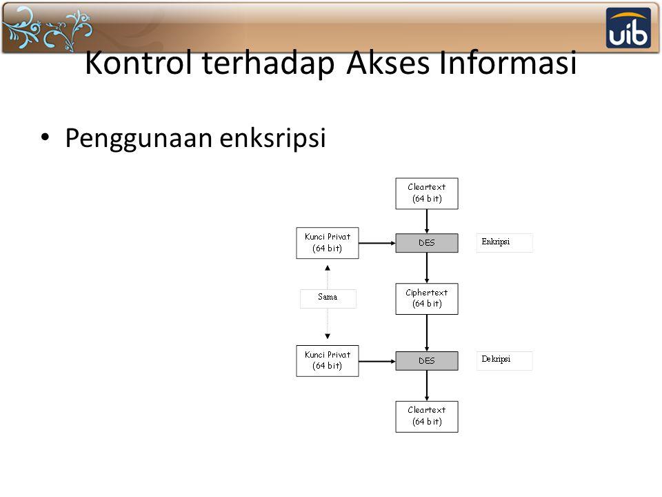 Kontrol terhadap Akses Informasi Penggunaan enksripsi