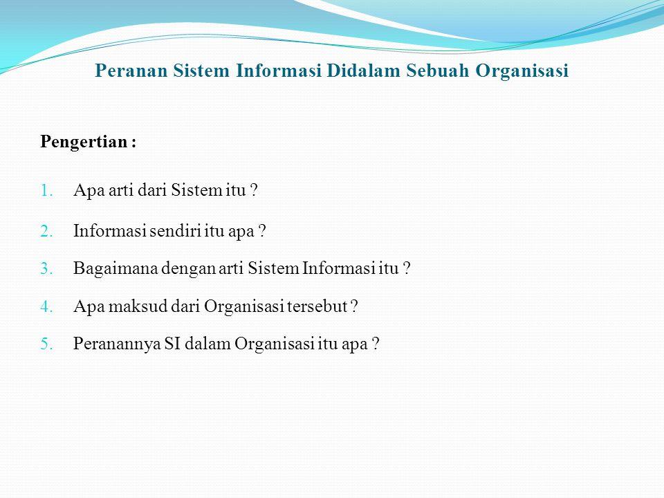 Peranan Sistem Informasi Didalam Sebuah Organisasi Di susun oleh : Kelompok III Abdul Qodir Jailani06.04.111.00866 Randitya Galih P06.04.111.00729 Deni Andre06.04.111.00742 Handayani firdauzi05.04.111.00616 JURUSAN TEKNIK INFORMATIKA FAKULTAS TEKNIK UNIVERSITAS TRUNOJOYO BANGKALAN 2010
