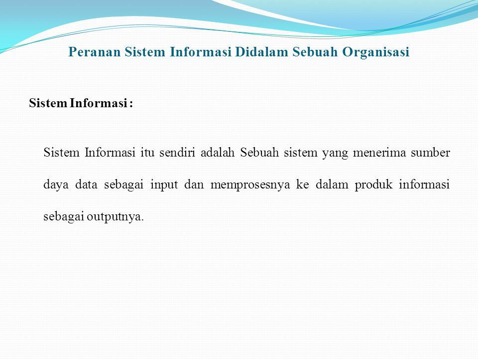 Peranan Sistem Informasi Didalam Sebuah Organisasi Sistem Informasi : Sistem Informasi itu sendiri adalah Sebuah sistem yang menerima sumber daya data sebagai input dan memprosesnya ke dalam produk informasi sebagai outputnya.