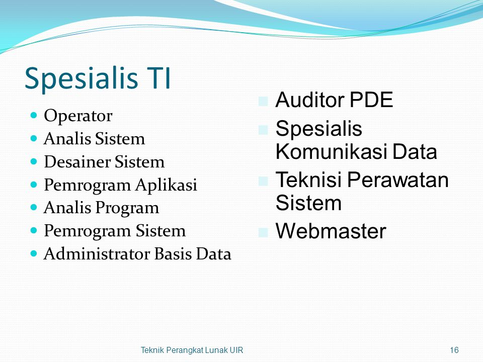 Spesialis TI Operator Analis Sistem Desainer Sistem Pemrogram Aplikasi Analis Program Pemrogram Sistem Administrator Basis Data Teknik Perangkat Lunak UIR16 Auditor PDE Spesialis Komunikasi Data Teknisi Perawatan Sistem Webmaster