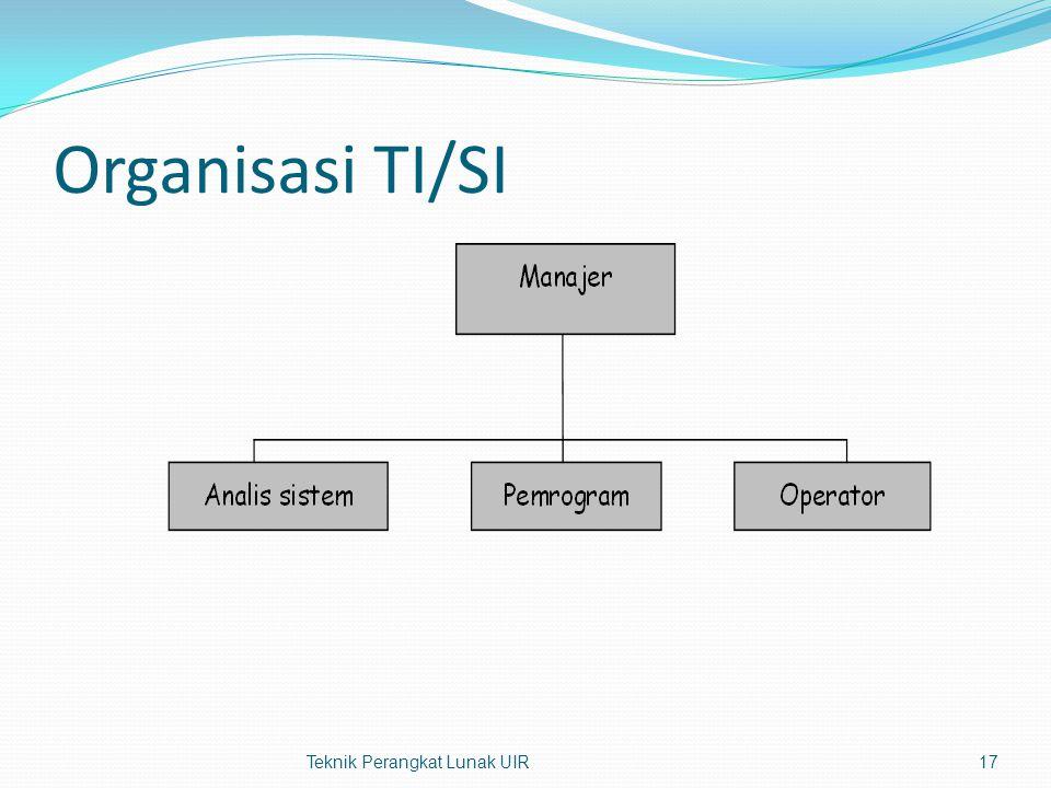 Organisasi TI/SI Teknik Perangkat Lunak UIR17
