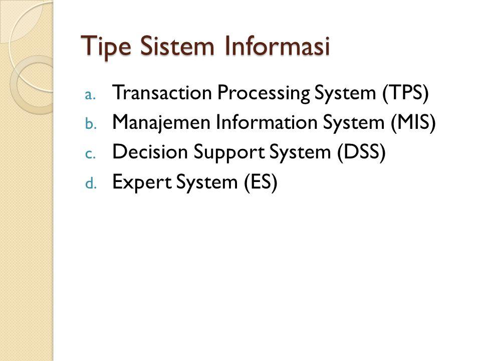 Tipe Sistem Informasi a. Transaction Processing System (TPS) b. Manajemen Information System (MIS) c. Decision Support System (DSS) d. Expert System (