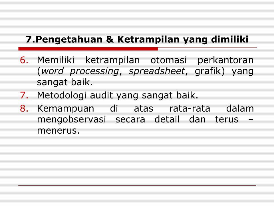 6.Memiliki ketrampilan otomasi perkantoran (word processing, spreadsheet, grafik) yang sangat baik.
