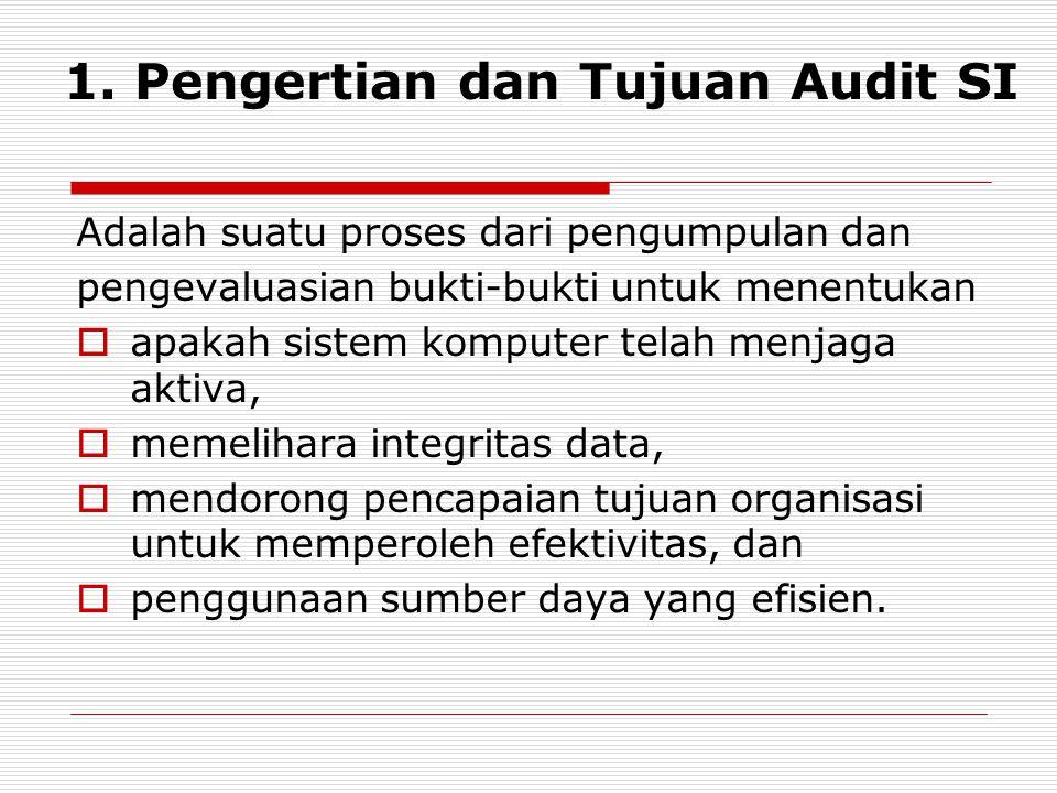 1. Pengertian dan Tujuan Audit SI Adalah suatu proses dari pengumpulan dan pengevaluasian bukti-bukti untuk menentukan  apakah sistem komputer telah