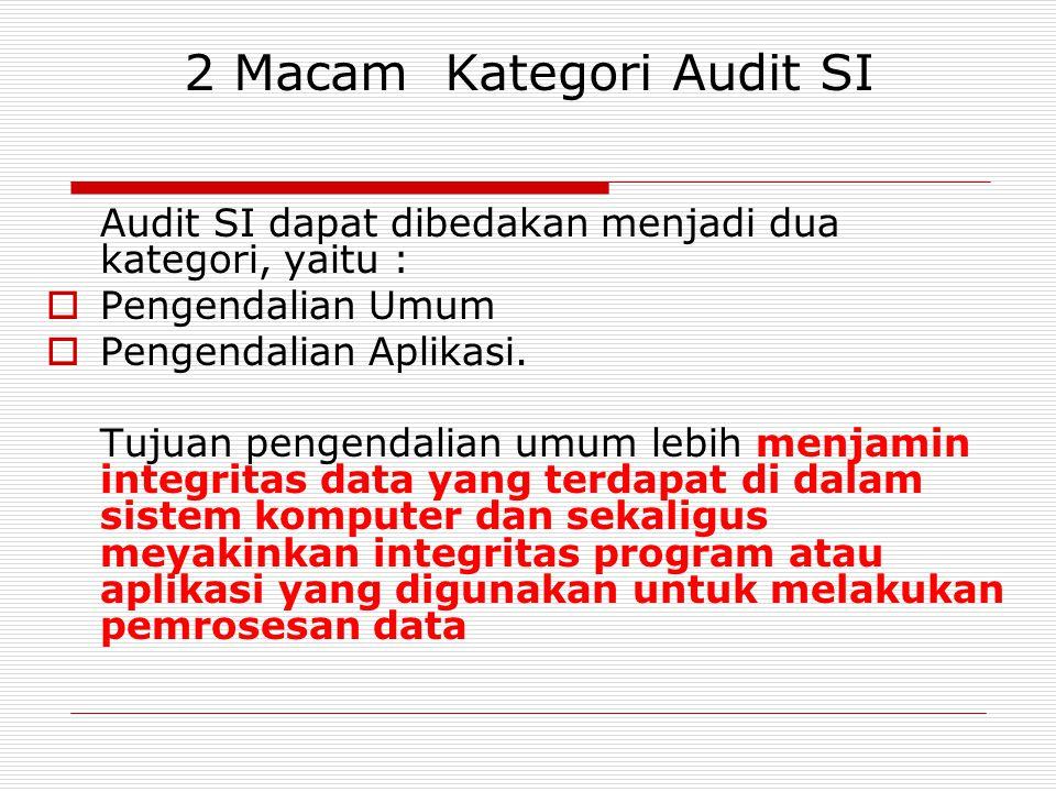 2 Macam Kategori Audit SI Audit SI dapat dibedakan menjadi dua kategori, yaitu :  Pengendalian Umum  Pengendalian Aplikasi.