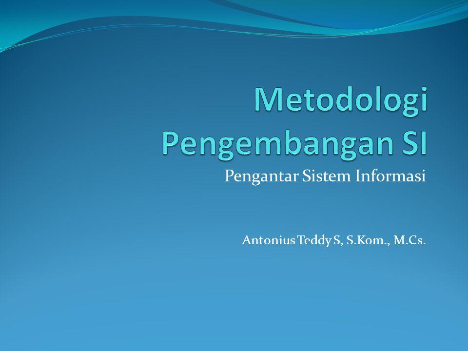 Metodologi Pengembangan SI Metodologi pengembangan sistem adalah metode- metode,prosedur-prosedur, konsep-konsep pekerjaan, aturan-aturan yang akan digunakan sebagai pedoman bagaimana dan apa yang harus dikerjakan selama pengembangan SI