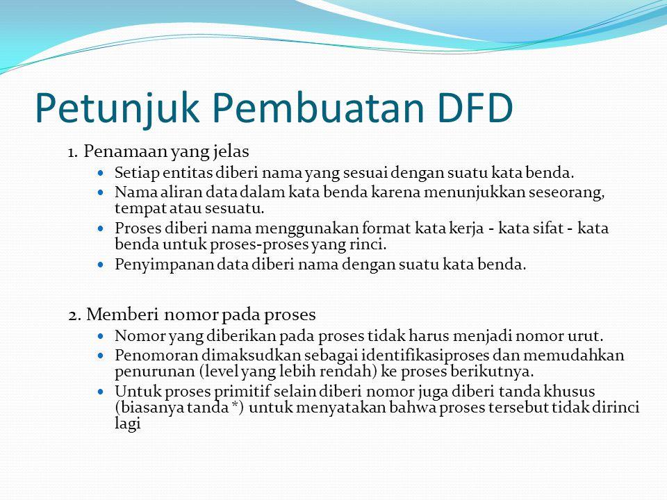 Petunjuk Pembuatan DFD 1. Penamaan yang jelas Setiap entitas diberi nama yang sesuai dengan suatu kata benda. Nama aliran data dalam kata benda karena