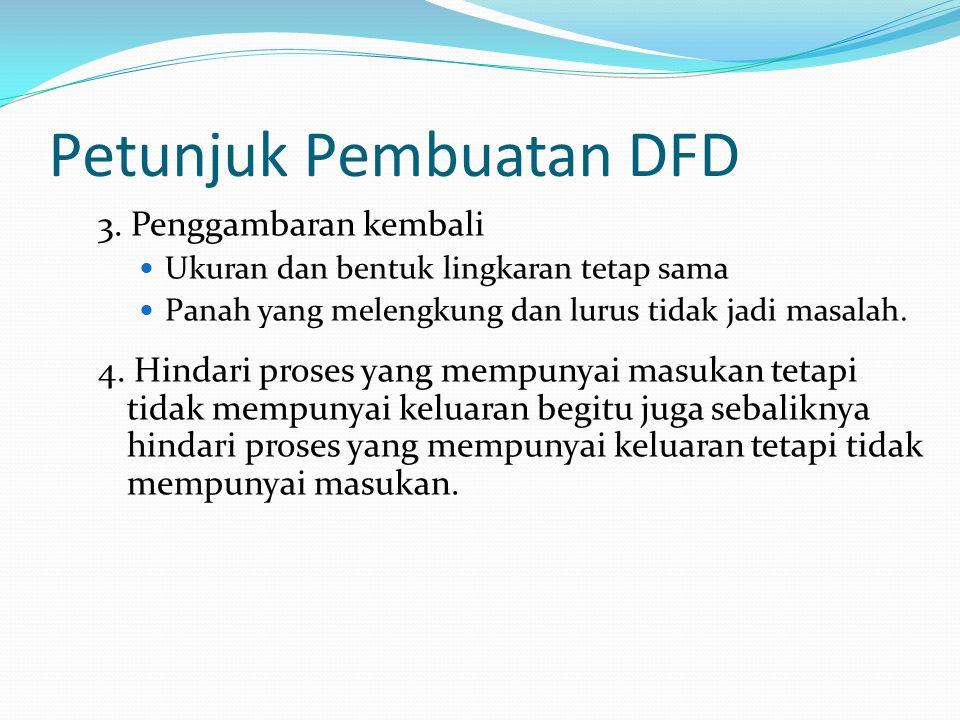 Petunjuk Pembuatan DFD 3. Penggambaran kembali Ukuran dan bentuk lingkaran tetap sama Panah yang melengkung dan lurus tidak jadi masalah. 4. Hindari p