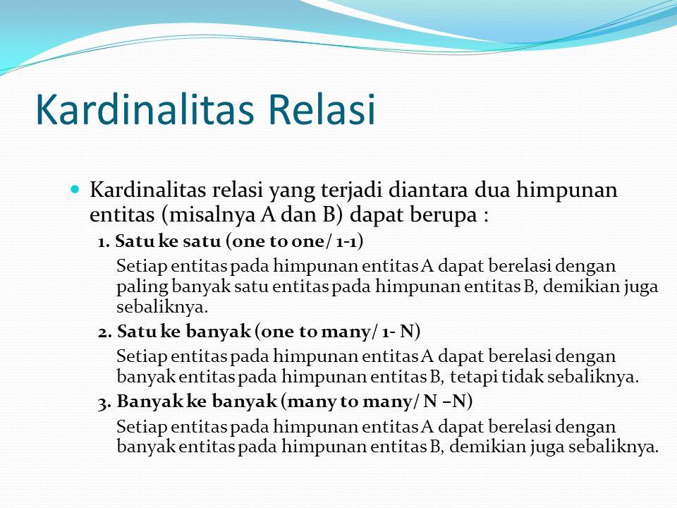 Kardinalitas Relasi Kardinalitas relasi yang terjadi diantara dua himpunan entitas (misalnya A dan B) dapat berupa : 1.
