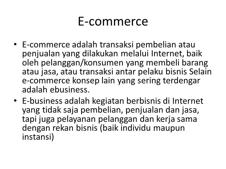 E-commerce E-commerce adalah transaksi pembelian atau penjualan yang dilakukan melalui Internet, baik oleh pelanggan/konsumen yang membeli barang atau jasa, atau transaksi antar pelaku bisnis Selain e-commerce konsep lain yang sering terdengar adalah ebusiness.