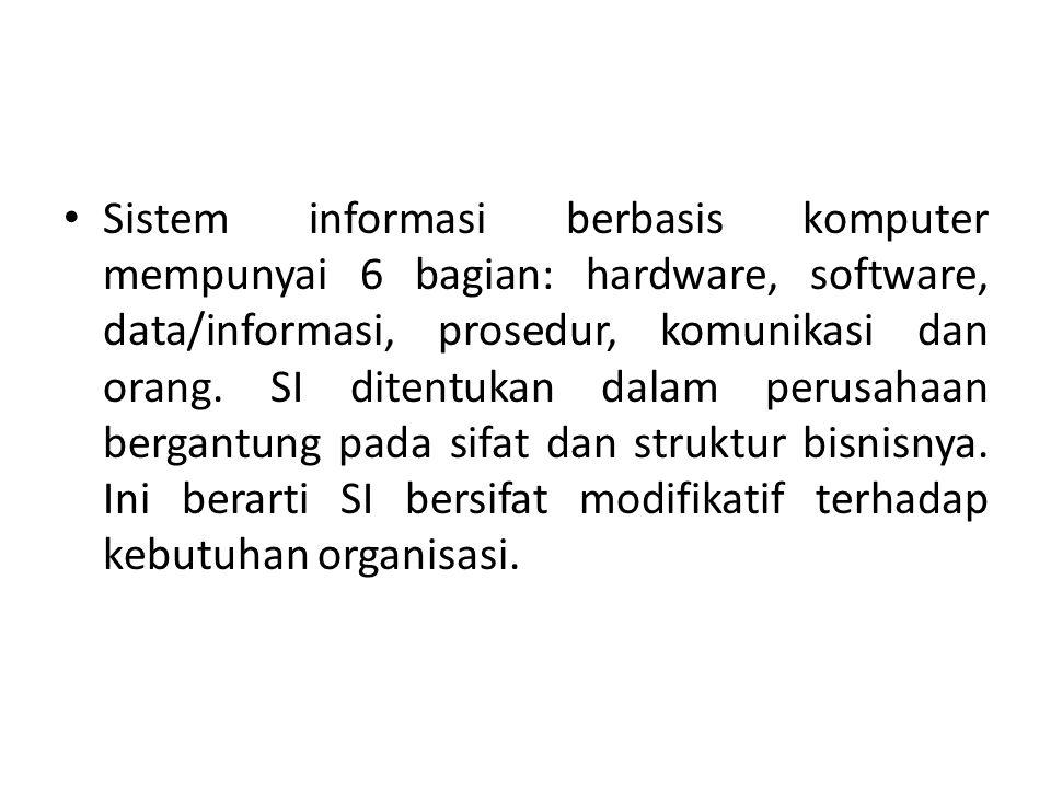 Sistem informasi berbasis komputer mempunyai 6 bagian: hardware, software, data/informasi, prosedur, komunikasi dan orang.