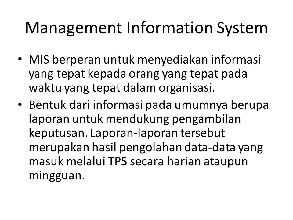 Management Information System MIS berperan untuk menyediakan informasi yang tepat kepada orang yang tepat pada waktu yang tepat dalam organisasi.