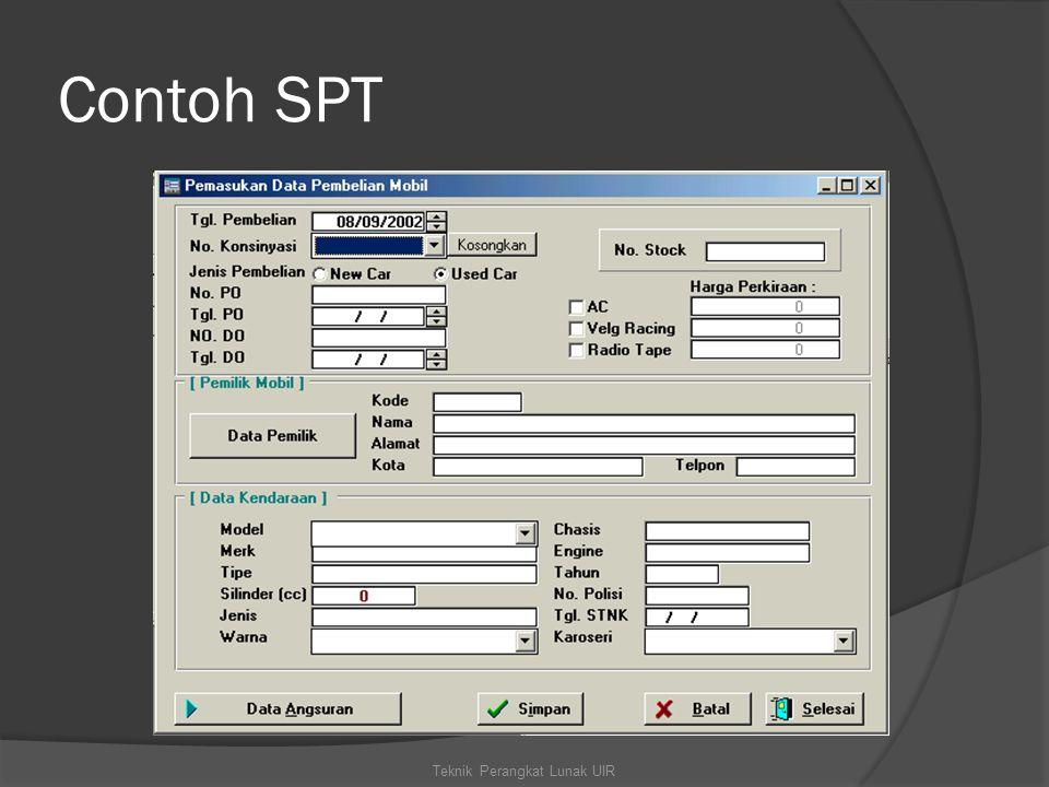 Contoh SPT Teknik Perangkat Lunak UIR